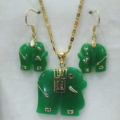 FidgetGear Natural Green Jade/Red Jade Carved Elephant Pendant 14K GP Necklace Earrings Set Green