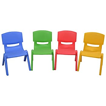 Costzon Kids Chairs Stackable Plastic Learn and Play Chair for School Home Play Room Colorful Chairs for Toddlers Boys Girls  Multicolor 4 Chairs