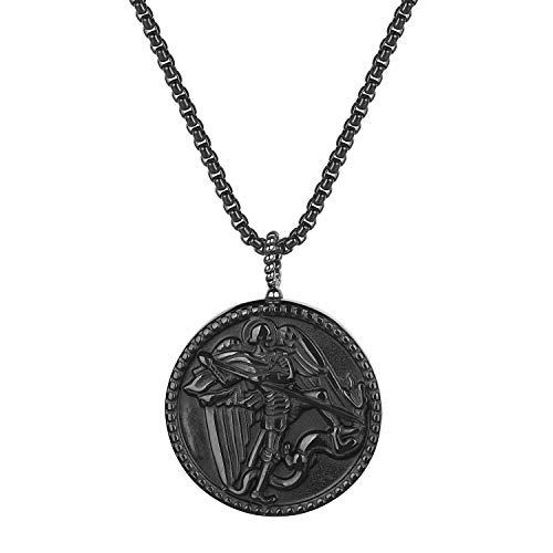 COAI Pendente in Ossidiana Nera con San Michele Intarsiato, Collana Pendente da Uomo in Pietre Naturali Catena Acciaio Inox