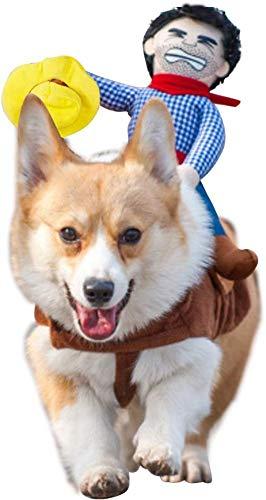 Hond Kostuum Halloween Huisdier Hond Cowboy Rider Kostuum Kerst Honden Katten Pak Outfit Ridder Stijl met Pop en Hoed Verstelbare Puppy Nieuwigheid Grappige Cosplay Kleding Hond Dress Up Kleding Kostuum, L