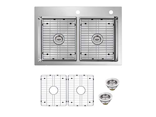 Top Mount 33 in. 18-Gauge Stainless Steel Double Bowl Tiny Radius Kitchen Sink with Grid Set and Drain Assemblies