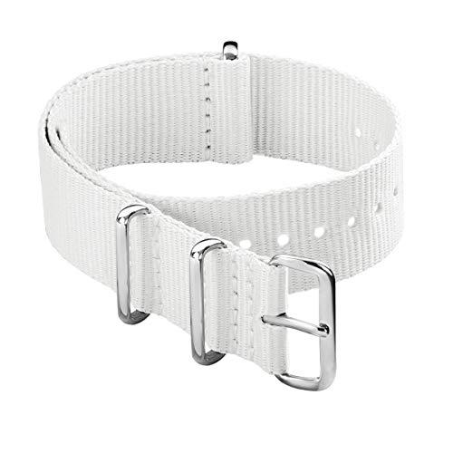 Archer Watch Straps - Classic Military Style Nylon Watch Strap (White, 20mm)