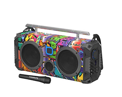 Bumpboxx Bluetooth Boombox Flare8 NYC Graffiti | Retro Boombox with Bluetooth Speaker | Rechargeable Bluetooth Speaker
