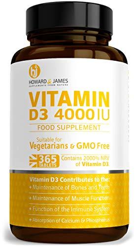 Vitamin D3 4000iu 365 High Strength Tablets Vegetarian Vitamin D 4000 IU