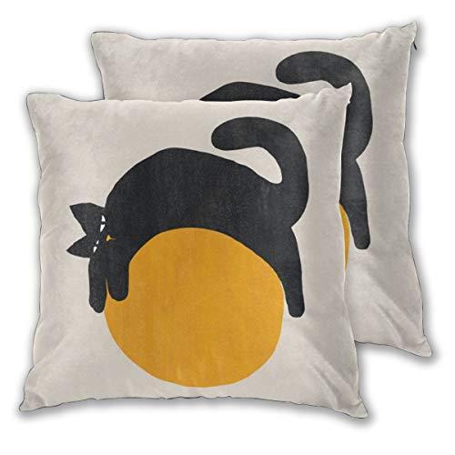 LIU&BAG Fundas de cojín 50 cm x 50 cm, diseño de gato con pelota, funda de almohada de algodón suave, cuadrada, decorativa, para sala de estar, sofá, cama, fundas de almohada 20 x 20 pulgadas, juego de 2