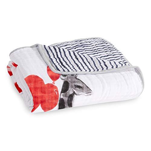 aden + anais - Couverture de Rêve Dream Blanket Prélavée en Mousseline 100% Coton - Imprimé Dream Ride - Quadruple-épaisseur 120cm x 120cm