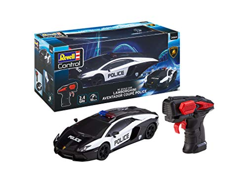 Revell Control 24664 RC Scale Car Lamborghini Aventador Police, GHz-Fernsteuerung für Rechts-/Linkshänder, Frontbeleuchtung, 1:24, 19,9 cm ferngesteuertes Auto, schwarz