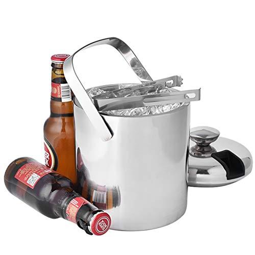 SXRKRZLB Cubiteras Al estilo europeo de acero inoxidable cubo de hielo espesado cerveza de la barra del cubo cubo de hielo portátil con tapa aislada cubo de hielo del cubo de Champán del vino for el j
