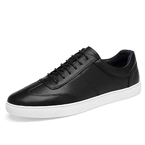 Zapatos de Cuero, Zapatos Casuales, adecuados para Zapatillas de Deporte para Hombres, Zapatillas de Moda de Cuero de Encaje, Color sólido Simple y sensación de pie cómodo