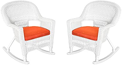 Jeco Rocker Wicker Chair with Red Cushion, Set of 2, White