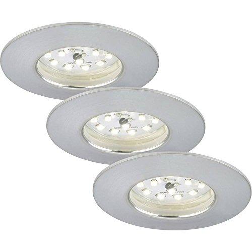 Briloner Leuchten 7204-039 LED Einbauleuchte, Einbaustrahler, LED Strahler, Spots, Deckenstrahler, Deckenspot, Lampen Wohnzimmer, led einbaustrahler 230v, Deckeneinbauleuchten,  5 Watt, 400 Lumen, Badezimmer / Bad geeignet IP44, energiesparend, 3er Set, rund, aluminium