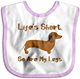 Life 's Short, so are my Legs - Dachshund Toddler Newborn Kids Toalla de saliva que no daña la piel Baberos para bebés-Rosa