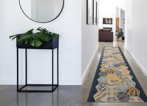 BIANCHERIAWEB Tappeto Passatoia in Tessuto Jacquard Linea Emozioni Disegno Mosaico Giallo 57x320 Giallo
