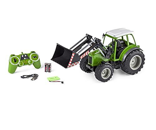 Carson 500907347 RC Traktor mit Frontlader 1:16 - Ferngesteuertes Fahrzeug, Bauernhoffahrzeug für Kinder ab 8 Jahren, Outdoor geeignet, inkl. Batterien und Fernsteuerung, grün