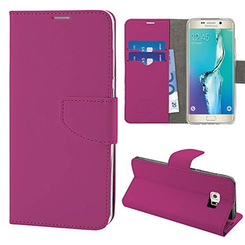 N NEWTOP Cover Compatibile per Samsung Galaxy S6 Edge, HQ Lateral Custodia Libro Flip Chiusura Magnetica Portafoglio Simil Pelle Stand (Fucsia)