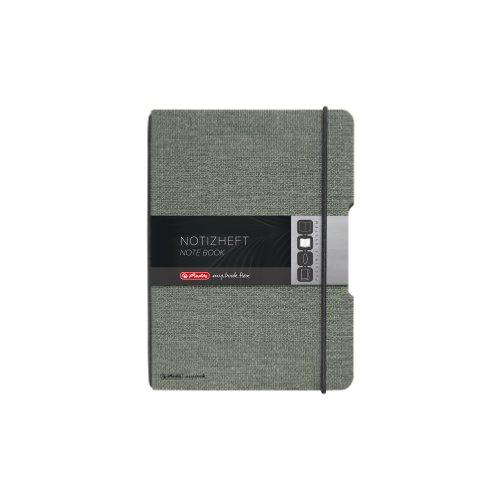 Herlitz Notizheft my.book flex, A6, Leinen-Wechselcover, kariert mit Verschlußgummi, 40 Blatt, schwarz