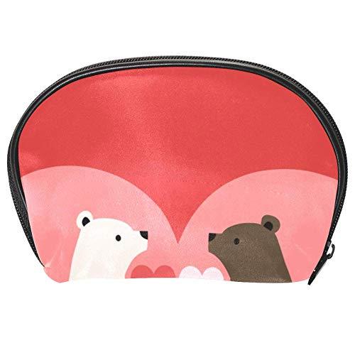 TIZORAX Sac à cosmétiques avec motif ours de cœur Blanc et marron