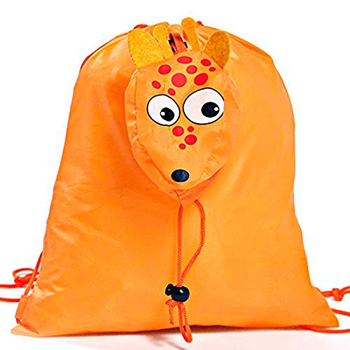 Lote de 20 Mochilas Plegables Animales Jirafa. Color Naranja - Mochilas Escolares,...