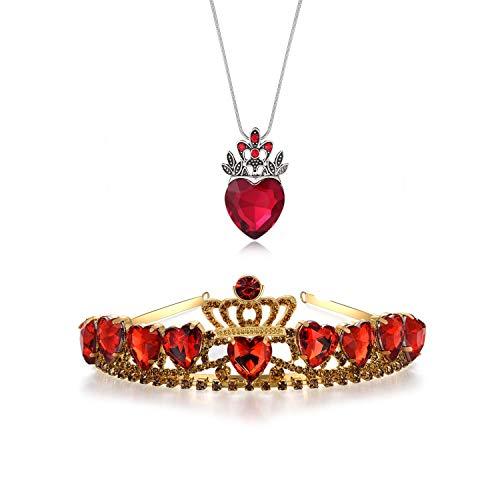 Kzslive Evie Rotes Herz Tiara und Halskette Descendants Red Heart Crown Schmuck Set Themen Tiara Halloween Prinzessin Weihnachten Kostüm Teen Geschenk für Mädchen