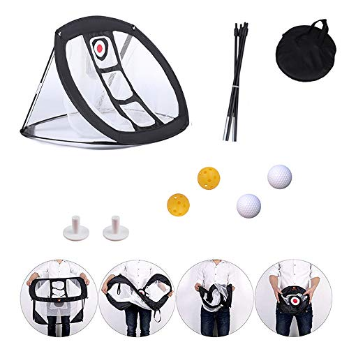 Lateefah Pop-up Golf Chipping Net with Dual Turf Hitting Mat, Practice Golf...
