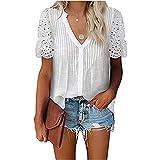 Mayntop Camiseta para mujer de verano con bordado hueco, manga corta, cuello en V, A-blanco, 38