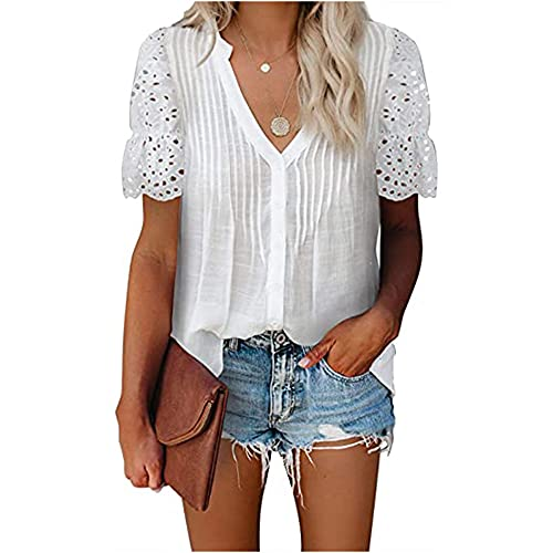 Mayntop Camiseta para mujer de verano con bordado hueco, manga corta, cuello en V, A-blanco, 44