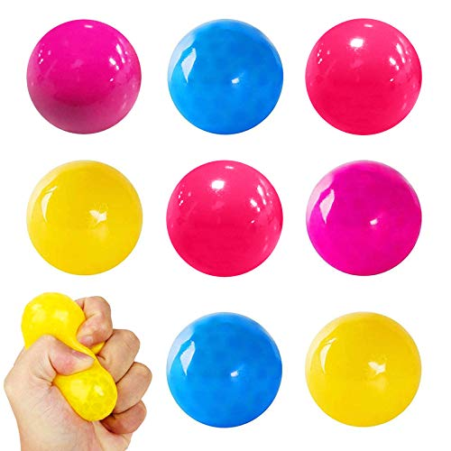 8Pcs Stress Reliever Balls,Dekompression Kid Spielzeug,Sticky Target Balls Toys,Fluoreszierende Klebrige, Stress Reliever Balls, Dekompressionsspielzeug für Erwachsene Kinder