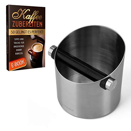 praxxim Abklopfbehälter für Siebträger - Kaffeesatz Abschlagbehälter aus Edelstahl – Optimal für 1-2 Espresso Genießer im Haushalt - incl. Ebook