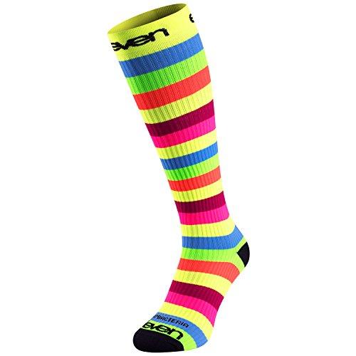Eleven Kompressionsstrümpfe | Kompressionssocken | Laufsocken | Compression Socks | Strümpfe | Thrombosestrümpfe | Damen | Herren zum Sport, Laufen, Flug, Reise (gestreift, M-L (EU 40-44))