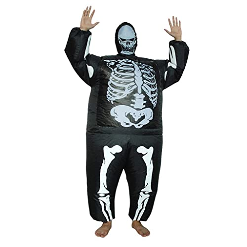 NuanXing Disfraces de Halloween para Hombres Disfraz Inflable de Huesos Humanos Disfraz de Halloween Horror Accesorios Divertidos Disfraz de Halloween Horror Negro Disfraz de Cosplay para Adultos