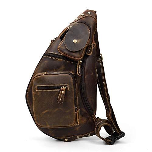 LUUFAN Herren Echtes Leder Sling Bag Brusttasche Cross Body Bag Cross Durable Schulter Rucksack (Brown 3)