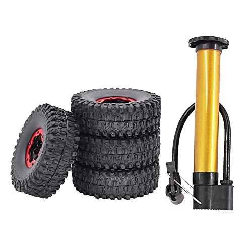 lahomia 2 Pares 1/10 RC Car Trunk Rim & 120mm neumáticos de Rueda neumáticos de Goma RC Car Accessories 3 Colores Opcional - Rojo