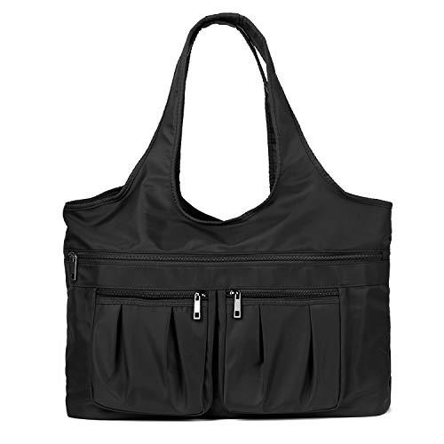 Multi Pocket Nylon Shoulder Bag For Women Waterproof Tote Travel Purses and Handbags (Black)