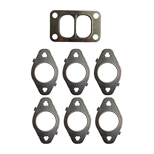 WGL 3946275 Exhaust Manifold Gaskets for Dodge Ram 5.9 Cummins Upgrad 4 Thick Multilayer Phosphated Surface Anti Rust Under Hi Temp W/Turbo Gask