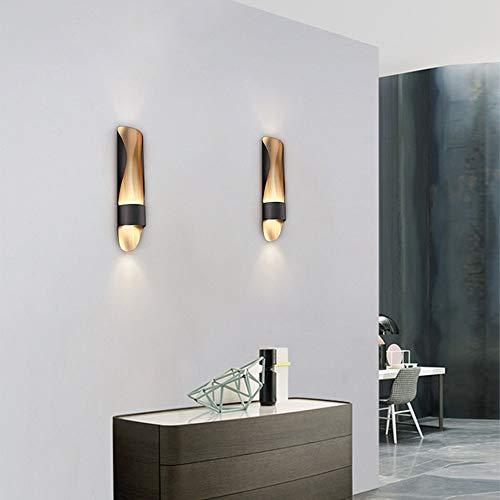 Decoracion wandlamp van zwart goud met minimalistische persoonlijkheid, moderne, industriële stijl, hal, woonkamer, slaapkamer, werkkamer, 10 x 50 cm, warm licht Villa