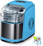 Kismile Countertop Ice Maker Machine,26Lbs/24H Compact Automatic Ice Makers,9 Cubes Ready in 6-8 Minutes,Portable Ice Cube Maker with self-cleaning program (Blue)