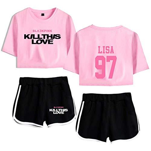 ZIGJOY New KPOP Kill This Love Rosaestampado Tops&Shorts Sets Camiseta Manga Corta y Pantalones Cortos para Mujeres y Muchachas 1263202 PB XS