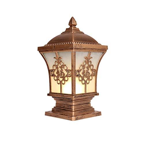 Chinese Style Outdoor Post Lamp 1-Light 60W E27 Column Lantern Vintage Pillar Light Aluminium Anti-rust Column Lamp For Lawn Garden Landscape Fixture