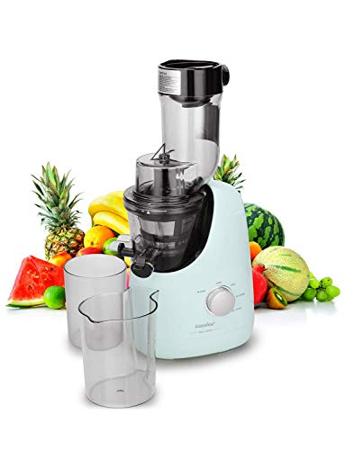 COMFEE' BPA Free Masticating Juicer Extractor with Ice Cream Maker Function. 3.4inch Large Chute. 55RPM Slow Cold Press Masticating and Grinding. High Yield. Quiet Motor. Reverse Function. Mint Green