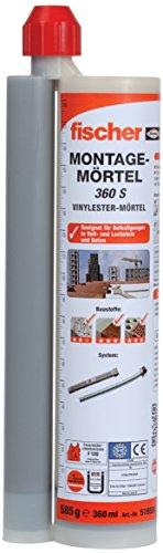 fischer Montagemörtel FIS VL 360 S - Für Standardanwendungen in Voll-/Lochsteinmauerwerk und gerissenem Beton - 1 x Kartusche 360 ml, 2 x Statikmischer FIS MR Plus - Art.-Nr. 519556