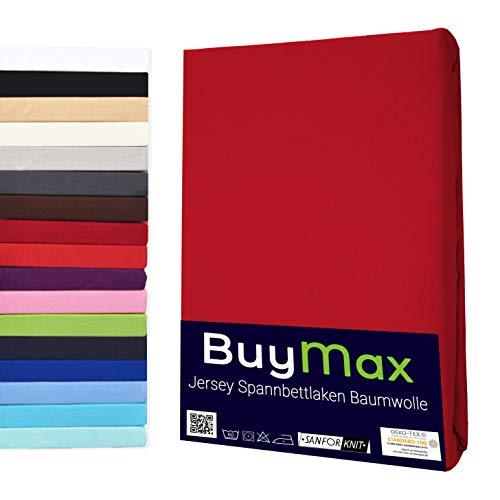 Lenzuolo con angoli elasticizzati, 140 x 200 – 160 x 200 cm, 100% cotone jersey per coprimaterasso fino a 12 cm di altezza, rosso