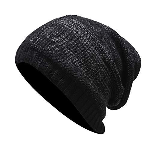 Lazzboy Mütze Männer Frauen Winter Trendy Warm übergroße Chunky Hat Baggy Stretchy Slouchy Beanie Herren Und Damen Mit Weichem Fleece Innenfutter(Schwarz-1)
