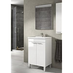 Mueble de baño aseo pequeño con espejo incluido, 2 puertas color blanco brillo 50x80x40cm. NO INCLUYE LAVAMANOS.
