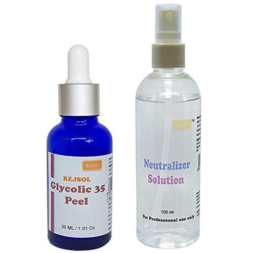 Rejsol Glycolic 35 Peel, Glycolic Acid 30 ml with Neutralizer 100 ml Chemical Peel, Peeling Kit for fairness; acne; pimples