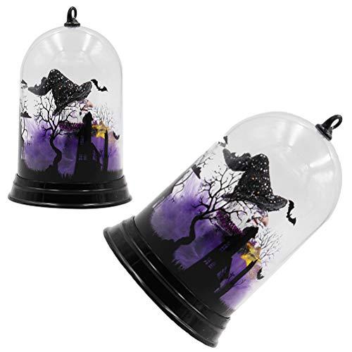 Mobestech 2 Stück Halloween Nachtlicht Hexe Lampe mit farblich veränderten Halloween Party Favors