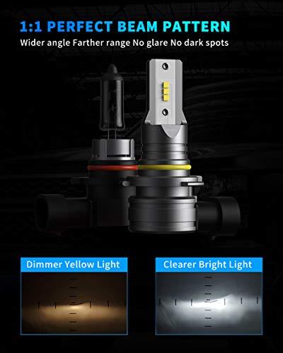 Honcs 9005/HB3 LED Headlight Bulbs, 300% Brighter Wireless LED High Beam, 6500K Cool White LED Headlight Conversion Kit IP67 Waterproof, Pack of 2