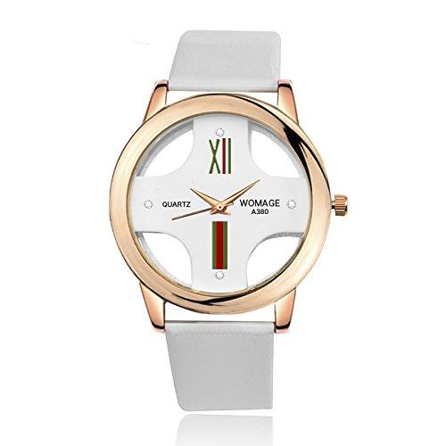 SJXIN Schöne und stilvolle Armbanduhr, WoMage Uhr Mode Exquisite hohlen Kreuz Männer Gürtel Uhr Modeuhren (Color : 2)
