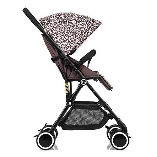 GKBMSP Kinderwagen Faltbarer Kinderwagen Leichter Kinderreisebuggy Kinderwagen mit verstellbarem Sitz und großem UPF 50+ Schutzhaube,Leopard