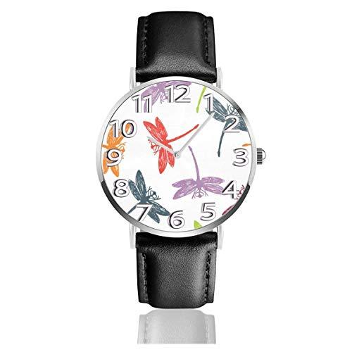 Reloj de Pulsera Libélula Patrón de Colores Durable PU Correa de Cuero Relojes de Negocios de Cuarzo Reloj de Pulsera Informal Unisex