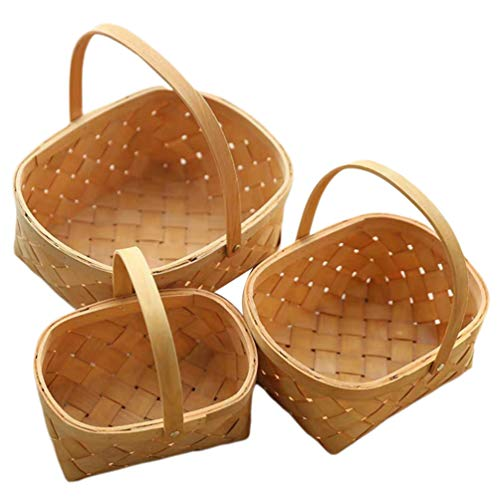 Cabilock 3 Stks Houten Geweven Mand Picknick Mand Fruit Groenten Brood Mand Serveermand Paasmand voor Keuken Woonkamer Badkamer